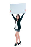 Cute Young Woman Holding Blank Board Stock Photos