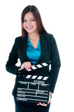 Cute Young Woman Holding Clapperboard Stock Photo