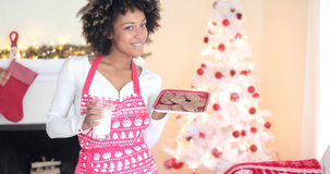 Cute young woman holding milk and cookies Royalty Free Stock Photography