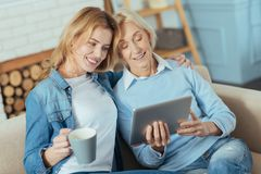 Cute young woman hugging her grandmother while holding a cup of tea. Lovely film. Pretty pleasant young women sitting on a sofa and holding a cup of hot tasty Royalty Free Stock Images