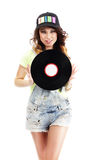 Cute Young Woman in Jeans Shorts holding Vinyl Record Royalty Free Stock Images