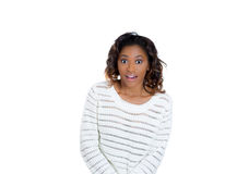 Cute young woman looking shocked and surprised Stock Photos