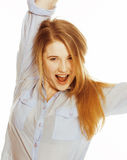 Cute young woman making cheerful faces on white Stock Photo