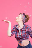 Cute young woman is making fun Royalty Free Stock Photography