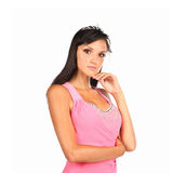 Cute young woman in navy pink on white background Stock Photos
