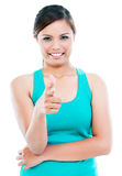 Cute Young Woman Pointing Royalty Free Stock Photo