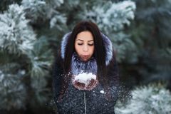 Cute young woman portrait playing with snow in warm woolen hat and coat in winter park Royalty Free Stock Photos