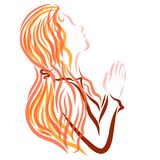 Cute young woman prays to God with a headscarf on her head vector illustration