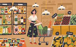 Cute young woman with shopping cart choosing and buying products at grocery store. Girl purchasing food at supermarket. Customer in retail shop. Colorful royalty free illustration