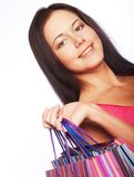Cute young woman shopping with color bags Stock Photo