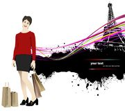 Cute young woman with shopping. Bags on Paris image background. Vector illustration stock illustration