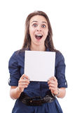 Cute young woman showing a blank board Stock Photo