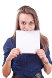 Cute young woman showing a blank board Royalty Free Stock Images