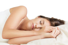 Cute young woman sleeping Royalty Free Stock Photography