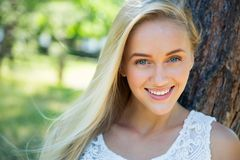 Cute young woman smiling stock photography