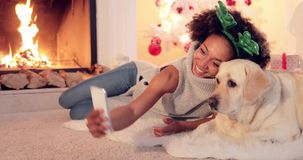 Cute young woman taking a selfie with her dog stock footage