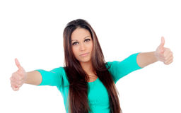 Cute young woman with thumbs up. Isolated on a white background Royalty Free Stock Photos