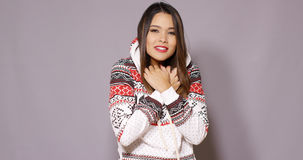 Cute young woman in warm cozy winter fashion Stock Image