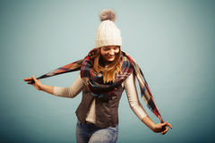 Cute young woman wearing cap. Stock Images