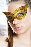Cute young woman wearing mask Royalty Free Stock Images