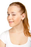 Cute  young woman winking Royalty Free Stock Photo