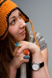 Cute young woman with winter hat Stock Photography