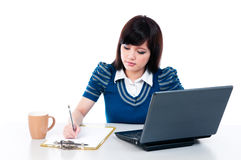 Cute Young Woman Working Royalty Free Stock Photo