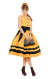 Cute young woman in yellow dress Stock Images