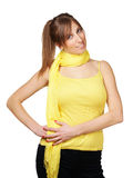 Cute young woman with yellow scarf Stock Image