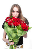 Cute young women with the flowers Royalty Free Stock Photo