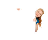 Cute young women holding a blank banner ad. Isolated on white Stock Photo