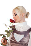Cute young woman with the rose Stock Image