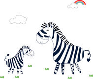 Cute zebra. Mother and son Stock Photos