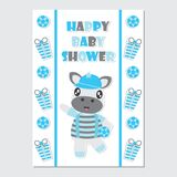 Cute zebra boy on gift border cartoon illustration for baby shower card design. Postcard, and wallpaper royalty free illustration