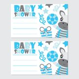 Cute zebra boy and gifts  cartoon illustration for baby shower card design. Postcard, and wallpaper Royalty Free Stock Photography
