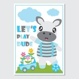 Cute zebra boy with his toys cartoon illustration for kid book cover design royalty free stock image
