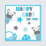 Cute zebra boy and toys frame  cartoon illustration for baby shower card design. Postcard, and wallpaper Stock Photography