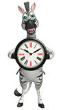 Cute Zebra cartoon character with clock Stock Image