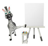 Cute Zebra cartoon character with easel board. 3d rendered illustration of Zebra cartoon character with easel board Royalty Free Stock Images