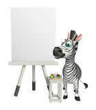 Cute Zebra cartoon character with easel board. 3d rendered illustration of Zebra cartoon character with easel board Stock Images