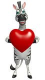 Cute Zebra cartoon character with heart sign Stock Images