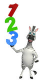 Cute Zebra cartoon character   with 123 sign. 3d rendered illustration of Zebra cartoon character  with 123 sign stock illustration