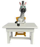 Cute Zebra cartoon character with table and chair Royalty Free Stock Photo