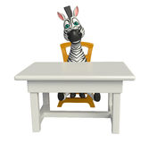 Cute Zebra cartoon character with table and chair Stock Photo