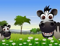 Cute zebra cartoon with nature background Stock Photos