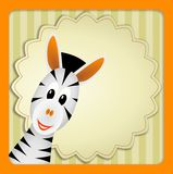 Cute zebra on decorative background. Bitmap illustration of cute young zebra on decorative background - birthday invitation Stock Image