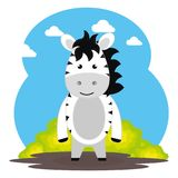 Cute zebra in the field landscape character. Vector illustration design Stock Images