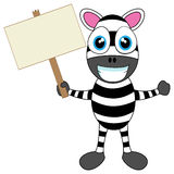 Cute Zebra holding wood sign Royalty Free Stock Photography