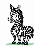 Cute zebra illustration drawing and whitw backgrounddrawing illustration white background Royalty Free Stock Photos