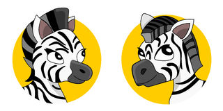 Cute zebras cartoon Stock Image